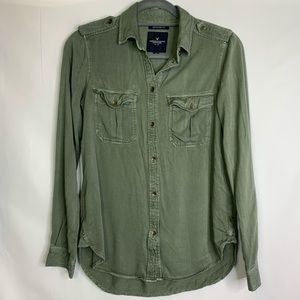 3/$25 American Eagle Olive Green Button Up Top